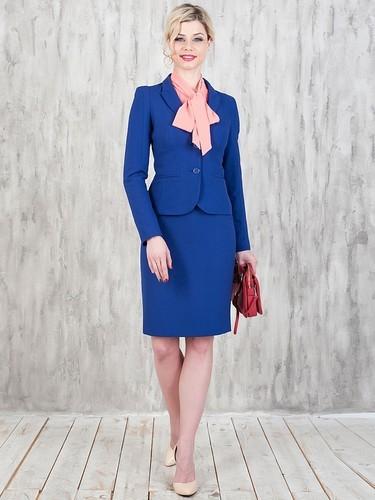 костюм с юбкой синий