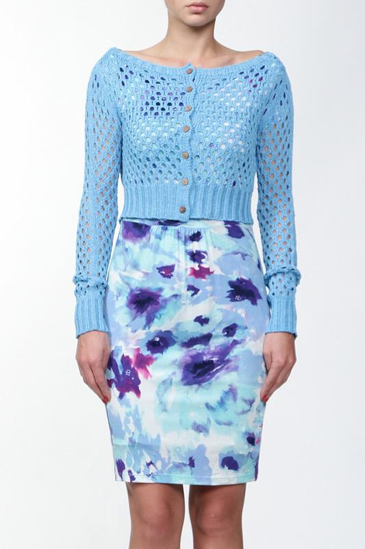 светло синее платье и кофточка