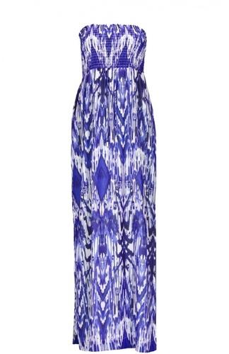 вечернее синее платье с рисунком
