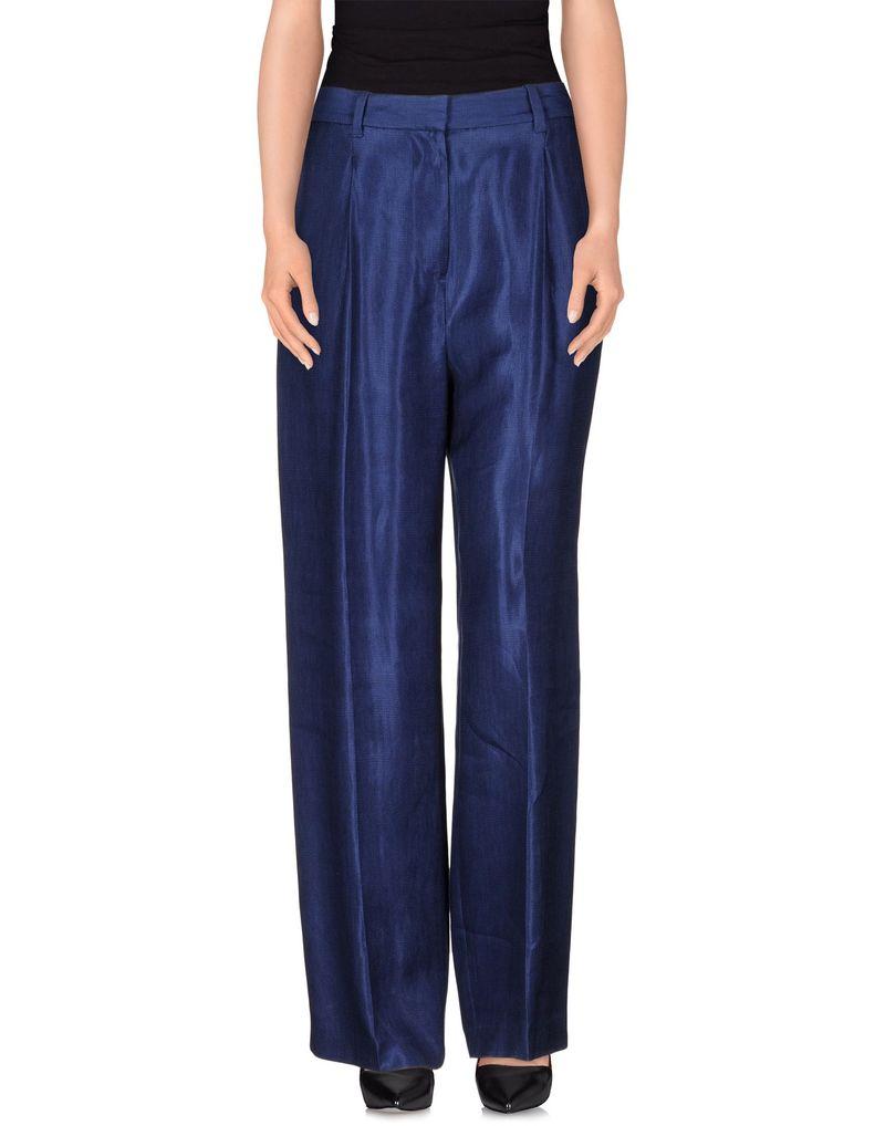 синие брюки с эффектом металик