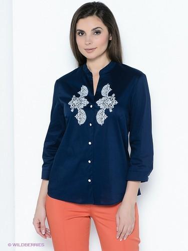 классическая синяя блузка
