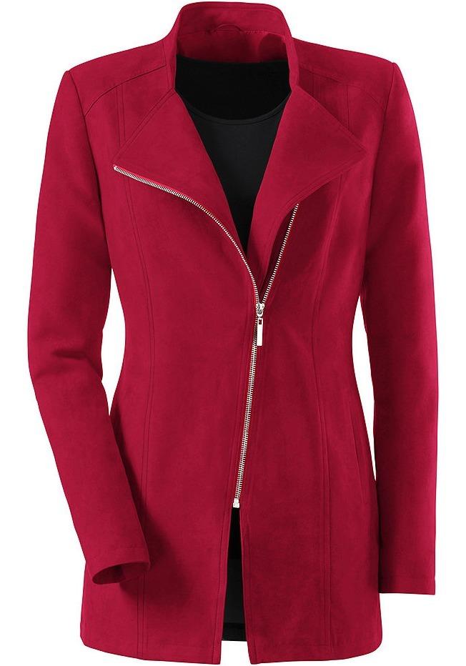 красное пальто с молнией