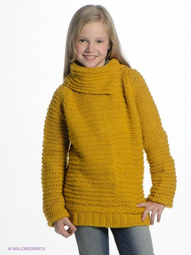 теплый желтый свитер для девочек