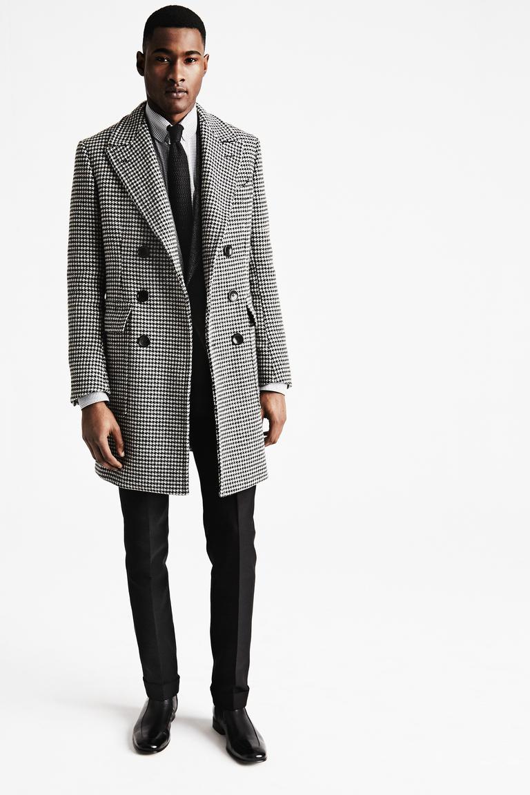 мужское пальто черно-белое