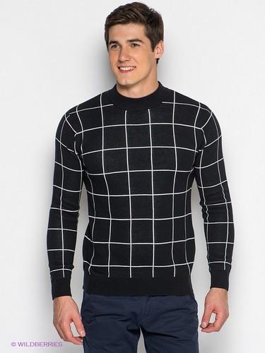 мужской свитер черный в белую клетку