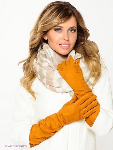 желтые женские перчатки