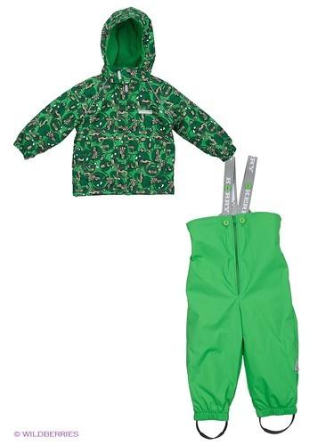 теплый детский комплект зеленого цвета