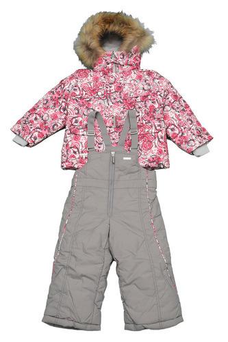 детский комплект теплый с розово-серый