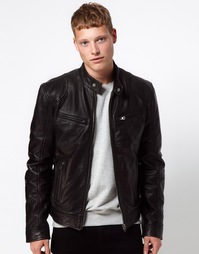Байкерская кожаная куртка Barney's - Черный