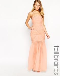 Платье макси с присборенным лифом-бандо Jarlo Tall Felicity