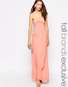 Платье макси в стиле бандо с рюшами Jarlo Tall Claudia - Розовый