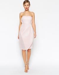 Облегающее платье-бандо миди ASOS - Розовый