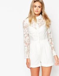Комбинезон с полупрозрачной блузкой в цветочек ASOS - Слоновая кость