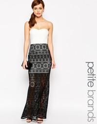 Платье макси с лифом‑бандо и кружевной накладкой Lipstick Boutique Pet