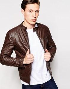 Байкерская куртка из искусственной кожи Barney's - Коричневый