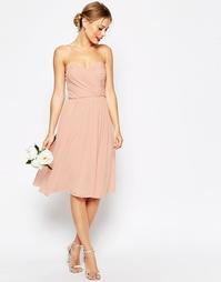 Платье миди с лифом-бандо ASOS WEDDING - Телесный