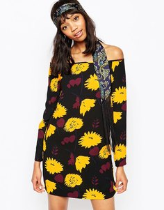 Sportmax Code Porfido Dress In Floral Print Off Shoulder - Черный