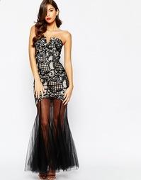 Кружевное платье макси с лифом‑бандо Jarlo Elsa - Черный