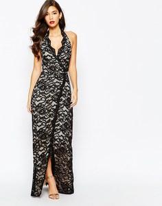 Кружевное платье макси с глубоким вырезом и разрезом Jarlo Valentia
