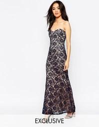 Кружевное длинное платье-бандо Lipstick Boutique Petite - Темно-синий