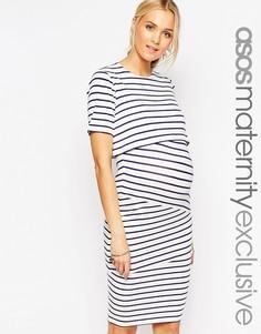 Двухслойное облегающее платье в полоску для беременных ASOS Maternity