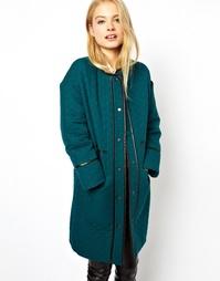 Cтеганое пальто с полиуретановой отделкой ASOS - Сине-зеленый