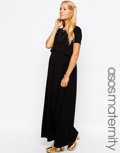 Двухслойное платье макси для КОРМЛЕНИЯ ASOS Maternity - Черный