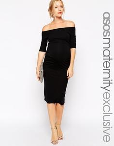 Платье с открытыми плечами для беременных ASOS Maternity - Черный