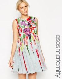 Приталенное платье для беременных с цветочным принтом ASOS Maternity