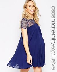 Свободное платье с отделкой ASOS Maternity - Темно-синий