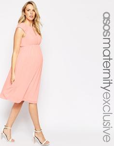 Приталенное шифоновое платье миди для беременных ASOS Maternity