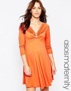 Свободное платье для беременных с золотистой вставкой ASOS Maternity