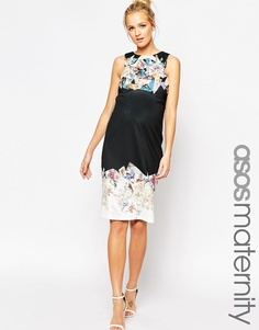 ASOS Maternity Asymmetric Scuba Bodycon Dress With Spliced Print