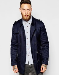 ASOS Trench Coat With Belt In Navy - Темно-синий