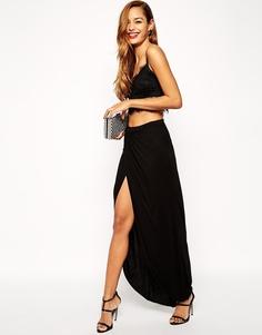 Трикотажная юбка-макси с запахом ASOS - Черный