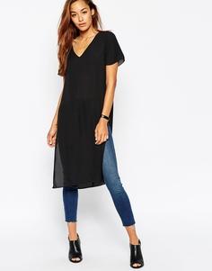 Длинная футболка с разрезами по бокам ASOS - Черный