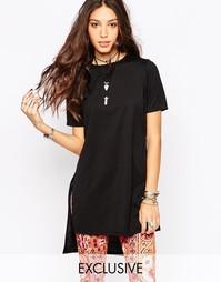 Длинная футболка-туника с разрезами по бокам Rokoko - Черный