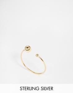 Позолоченное кольцо из серебра с бусиной ASOS - Золотой