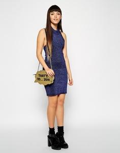 Трикотажная юбка с эффектом металлик ASOS Co-ord - Темно-синий