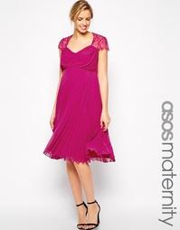Плиссированное платье миди для беременных с кружевом ASOS Maternity