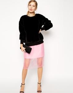 Юбка-карандаш с прозрачным верхним слоем ASOS - Розовый