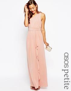 Платье макси на одно плечо ASOS PETITE WEDDING - Peach