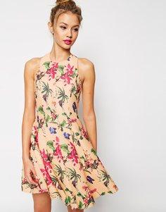 Короткое приталенное платье с пышной юбкой ASOS PREMIUM - Принт