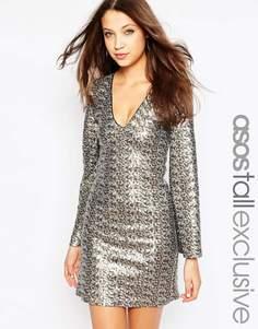 Платье с пайетками и расклешенными рукавами ASOS TALL