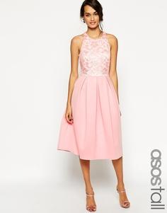 Приталенное платье миди с кружевным топом ASOS TALL - Мятный
