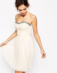 Платье для выпускного с отделкой Little Mistress - Телесный