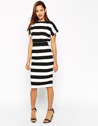 Платье-футляр в полоску с запахом сзади ASOS - Принт
