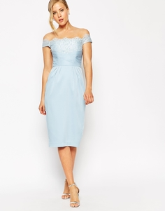 Кружевное платье‑футляр с запахом ASOS - Нежно-голубой