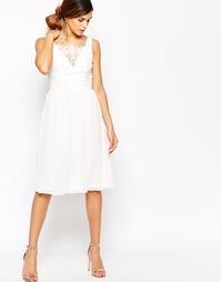 Приталенное платье миди с кружевной вставкой на груди Elise Ryan