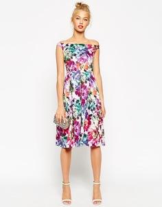 Платье миди для выпускного с цветочным принтом ASOS - Фиолетовый